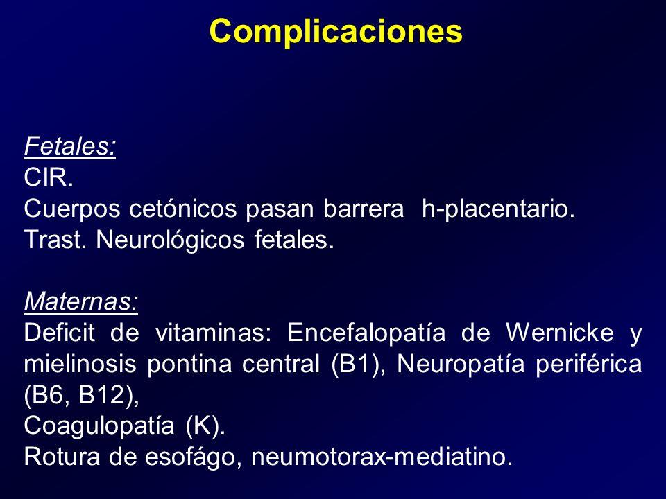 Complicaciones Fetales: CIR. Cuerpos cetónicos pasan barrera h-placentario. Trast. Neurológicos fetales. Maternas: Deficit de vitaminas: Encefalopatía
