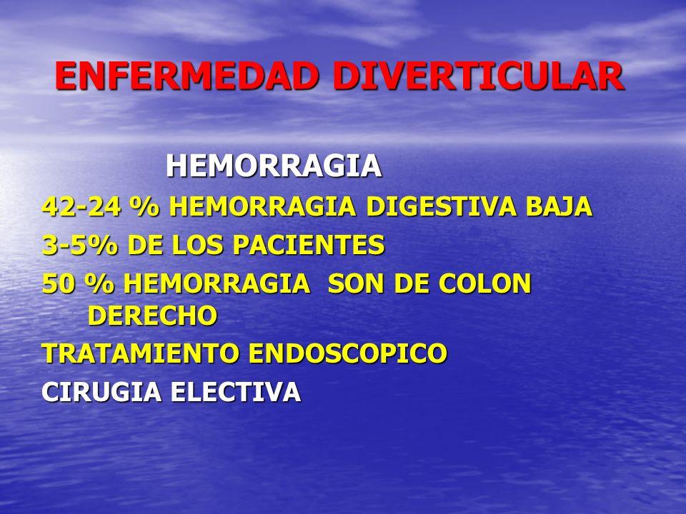 ENFERMEDAD DIVERTICULAR ENFERMEDAD DIVERTICULAR HEMORRAGIA HEMORRAGIA 42-24 % HEMORRAGIA DIGESTIVA BAJA 3-5% DE LOS PACIENTES 50 % HEMORRAGIA SON DE C