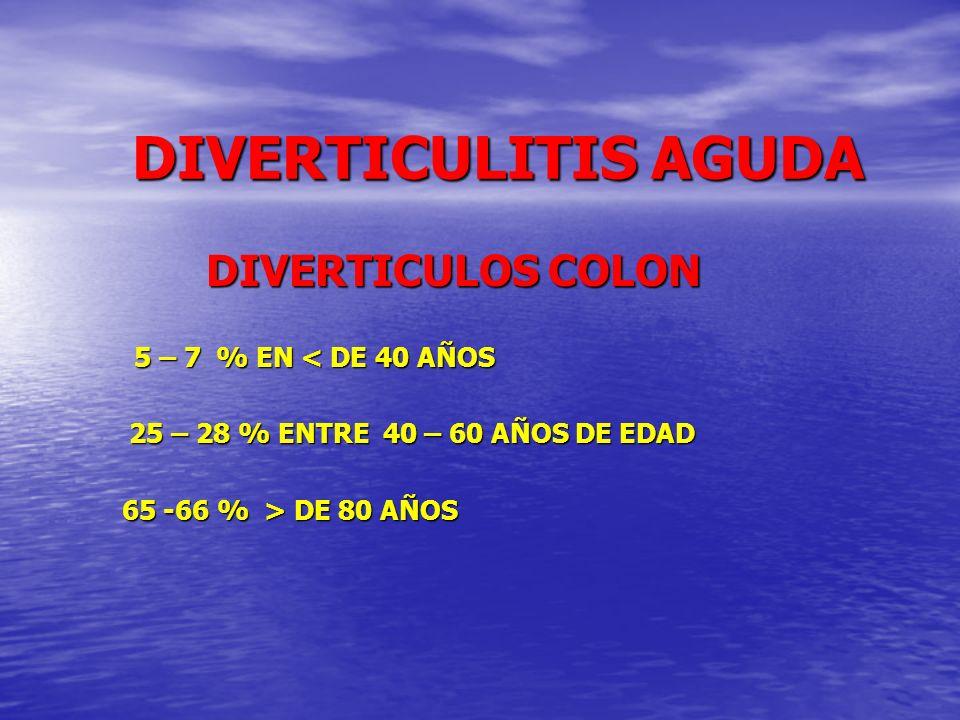 DIVERTICULITIS AGUDA DIVERTICULITIS AGUDA EL 80 % DIVERTICULOS NO MANIFIESTAN CLINICA O ES MUY LIGERA EL 80 % DIVERTICULOS NO MANIFIESTAN CLINICA O ES MUY LIGERA EL 10-25 % DE PACIENTES PRESENTAN CUADRO DE DIVERTICULITIS EL 10-25 % DE PACIENTES PRESENTAN CUADRO DE DIVERTICULITIS EL 70 % CURSAN COMO DIVERTICULITIS NO COMPLICADA EL 70 % CURSAN COMO DIVERTICULITIS NO COMPLICADA EL 20-25 % COMO DIVERTICULITIS COMPLICADA EL 20-25 % COMO DIVERTICULITIS COMPLICADA EL 5-7 % PRODUCEN HEMORRAGIA EL 5-7 % PRODUCEN HEMORRAGIA