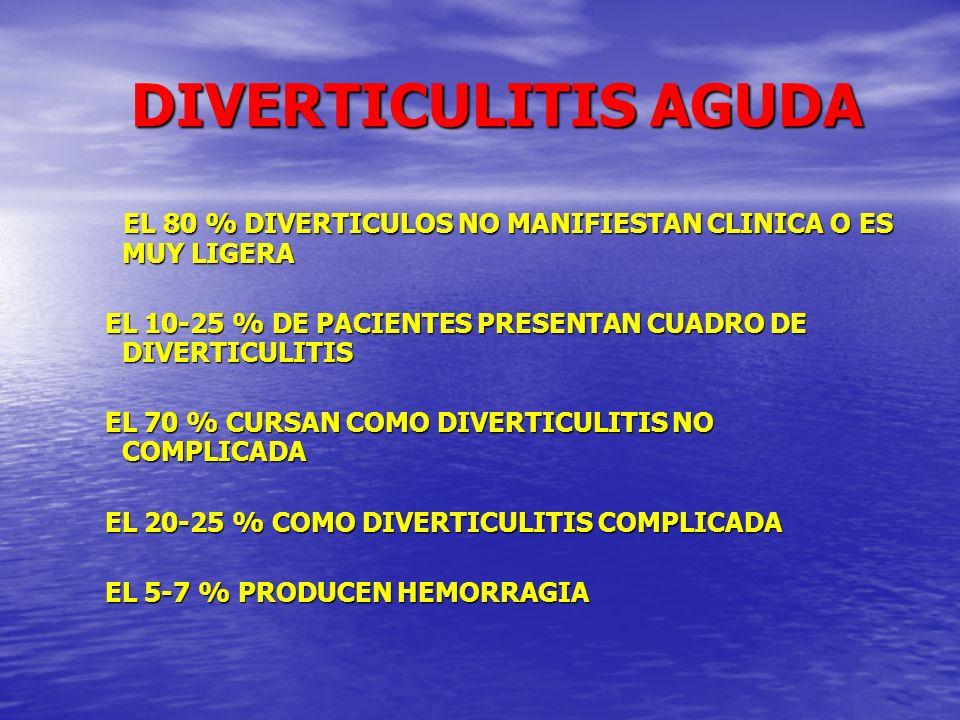 DIVERTICULITIS AGUDA DIVERTICULITIS AGUDA DOLOR ABDOMINAL F.I.IZQDA –HIPOGASTRIO DOLOR ABDOMINAL F.I.IZQDA –HIPOGASTRIO FIEBRE FIEBRE TAQUICARDIA TAQUICARDIA IRRITACIÓN PERITONEAL IRRITACIÓN PERITONEAL PRESENCIA PLASTRON F.I.IZQDA PRESENCIA PLASTRON F.I.IZQDA