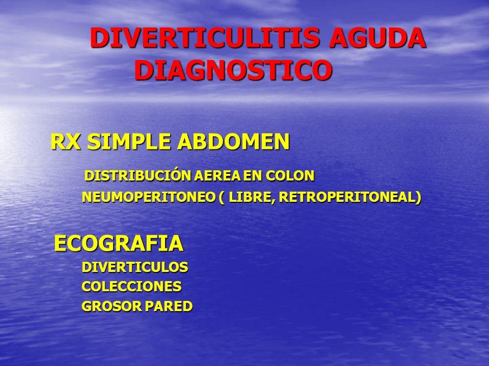 DIVERTICULITIS AGUDA DIAGNOSTICO DIVERTICULITIS AGUDA DIAGNOSTICO RX SIMPLE ABDOMEN RX SIMPLE ABDOMEN DISTRIBUCIÓN AEREA EN COLON DISTRIBUCIÓN AEREA E