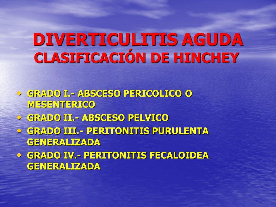 DIVERTICULITIS AGUDA DIVERTICULITIS AGUDA CIRUGIA ELECTIVA CIRUGIA ELECTIVA COLECTOMIA PROFILACTICA 2,3 % MORTALIDAD Y 14,2% COLOSTOMIA DIVERTICULITIS TRAS COLECTOMIAS 2,6 % - 10,4 % ELEGIR PACIENTES CON RIESGO A PADECER 3- 4 ATAQUES (-0.5% m, y - 0.7% c.) PACIENTES JOVENES PACIENTES CON INMUNOSUPRESIÓN