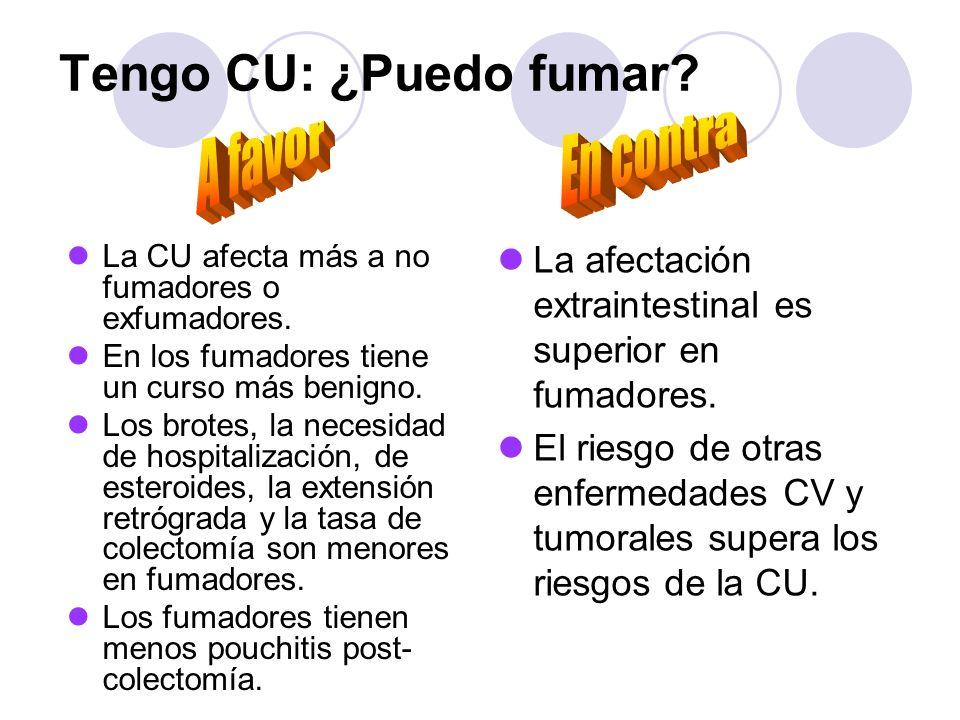Tengo CU: ¿Puedo fumar? La CU afecta más a no fumadores o exfumadores. En los fumadores tiene un curso más benigno. Los brotes, la necesidad de hospit
