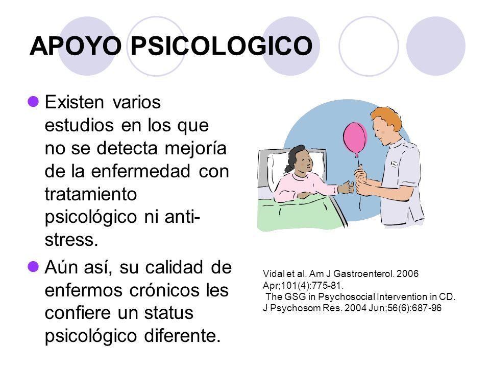 APOYO PSICOLOGICO Existen varios estudios en los que no se detecta mejoría de la enfermedad con tratamiento psicológico ni anti- stress. Aún así, su c