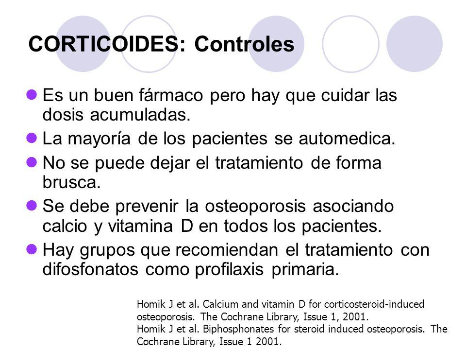 CORTICOIDES: Controles Es un buen fármaco pero hay que cuidar las dosis acumuladas. La mayoría de los pacientes se automedica. No se puede dejar el tr