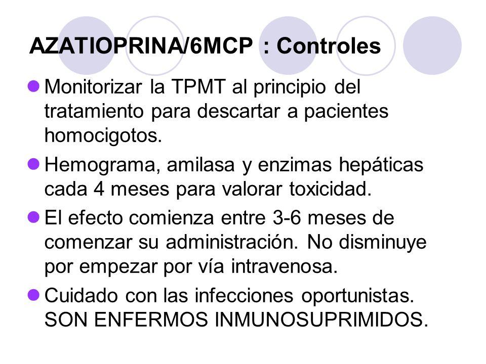 AZATIOPRINA/6MCP : Controles Monitorizar la TPMT al principio del tratamiento para descartar a pacientes homocigotos. Hemograma, amilasa y enzimas hep