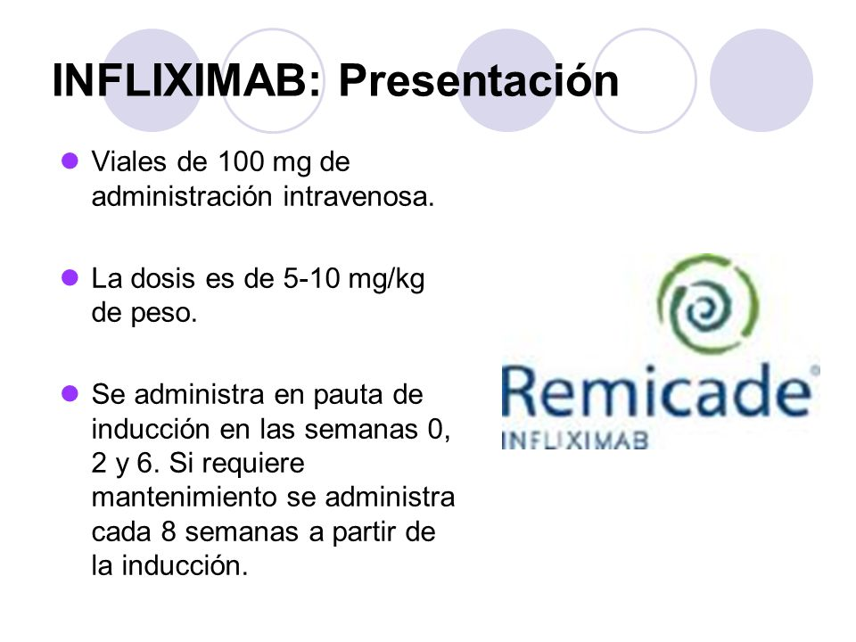 INFLIXIMAB: Presentación Viales de 100 mg de administración intravenosa. La dosis es de 5-10 mg/kg de peso. Se administra en pauta de inducción en las
