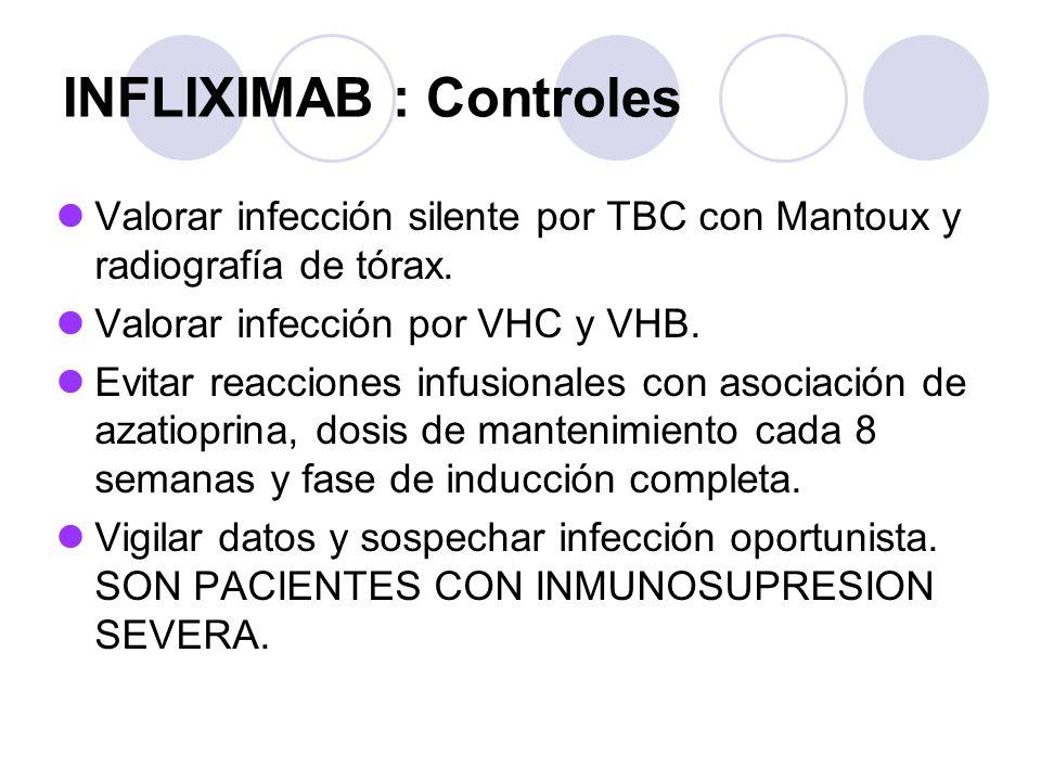 INFLIXIMAB : Controles Valorar infección silente por TBC con Mantoux y radiografía de tórax. Valorar infección por VHC y VHB. Evitar reacciones infusi