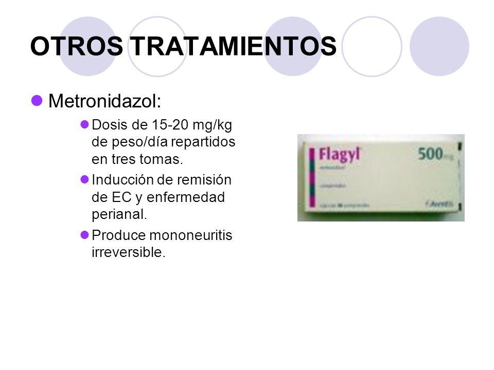 OTROS TRATAMIENTOS Metronidazol: Dosis de 15-20 mg/kg de peso/día repartidos en tres tomas.