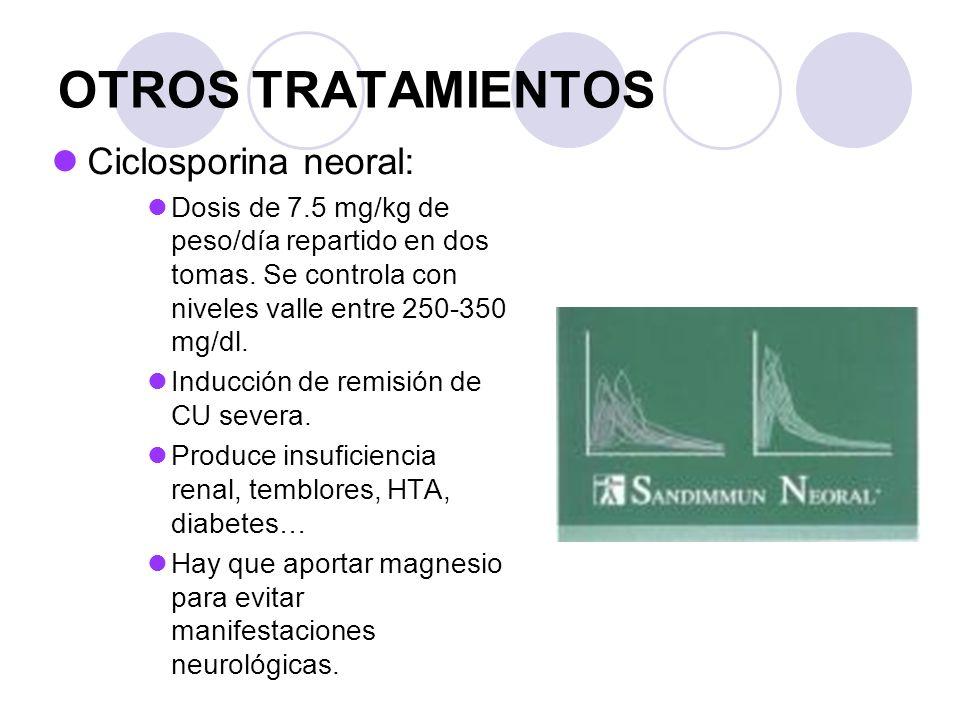 OTROS TRATAMIENTOS Ciclosporina neoral: Dosis de 7.5 mg/kg de peso/día repartido en dos tomas. Se controla con niveles valle entre 250-350 mg/dl. Indu