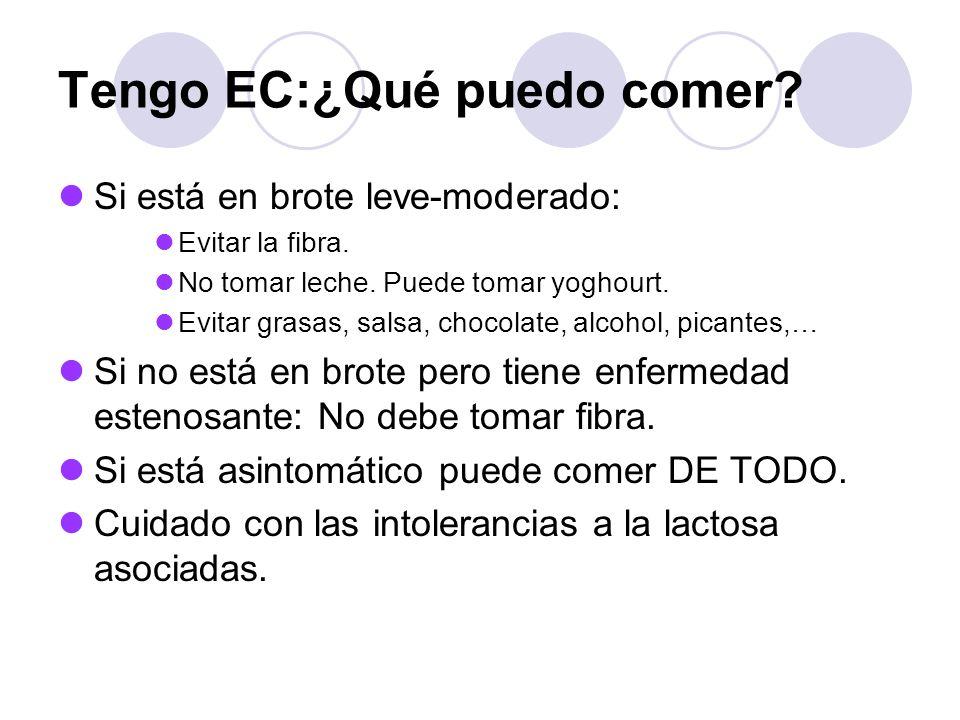 Tengo EC:¿Qué puedo comer? Si está en brote leve-moderado: Evitar la fibra. No tomar leche. Puede tomar yoghourt. Evitar grasas, salsa, chocolate, alc