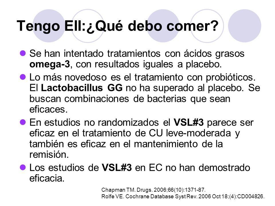 Tengo EII:¿Qué debo comer? Se han intentado tratamientos con ácidos grasos omega-3, con resultados iguales a placebo. Lo más novedoso es el tratamient