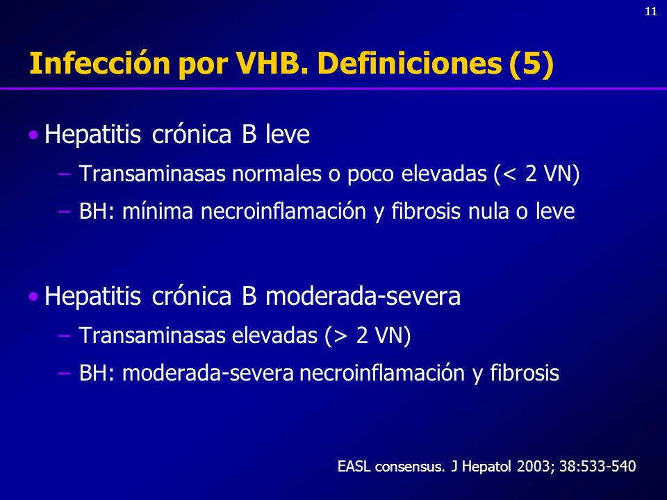 11 Infección por VHB. Definiciones (5) Hepatitis crónica B leve –Transaminasas normales o poco elevadas (< 2 VN) –BH: mínima necroinflamación y fibros