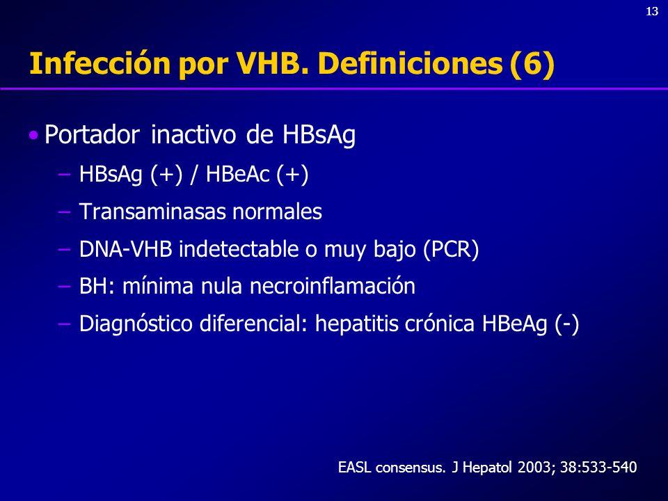 13 Infección por VHB. Definiciones (6) Portador inactivo de HBsAg –HBsAg (+) / HBeAc (+) –Transaminasas normales –DNA-VHB indetectable o muy bajo (PCR