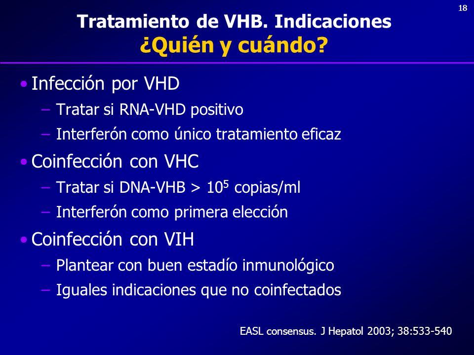 18 Tratamiento de VHB. Indicaciones ¿Quién y cuándo? Infección por VHD –Tratar si RNA-VHD positivo –Interferón como único tratamiento eficaz Coinfecci