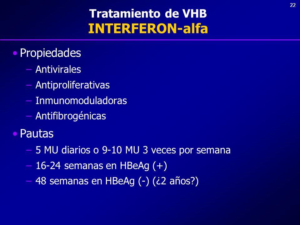 22 Tratamiento de VHB INTERFERON-alfa Propiedades –Antivirales –Antiproliferativas –Inmunomoduladoras –Antifibrogénicas Pautas –5 MU diarios o 9-10 MU