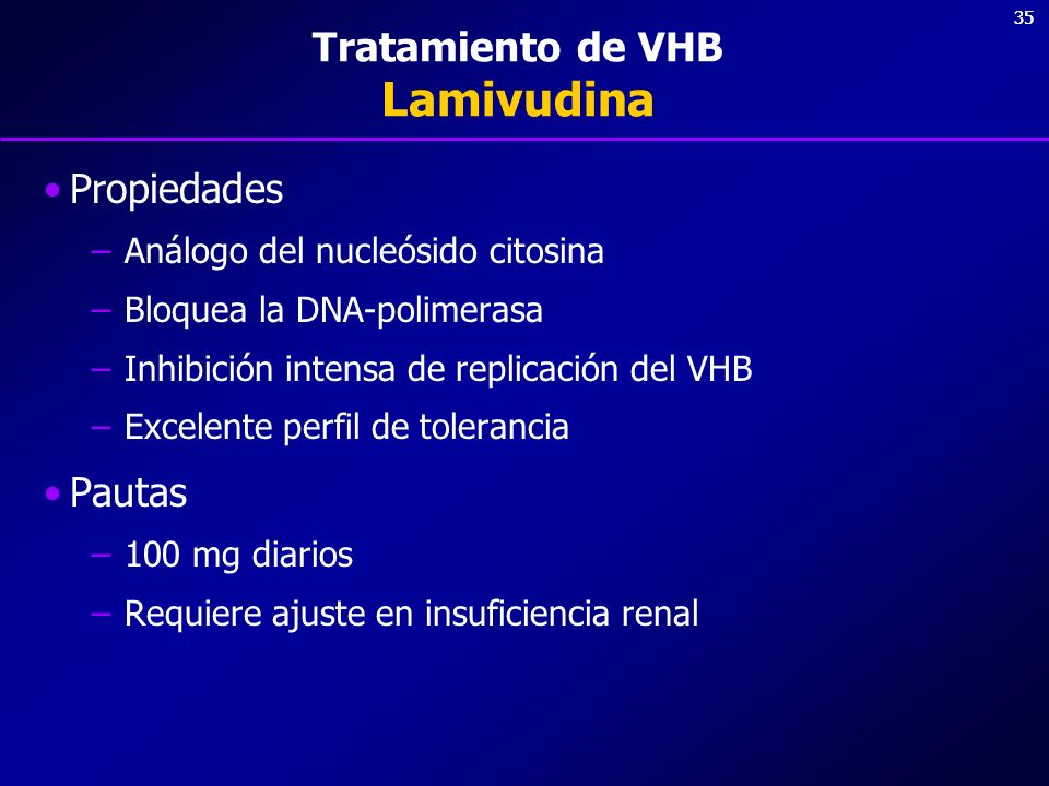 35 Tratamiento de VHB Lamivudina Propiedades –Análogo del nucleósido citosina –Bloquea la DNA-polimerasa –Inhibición intensa de replicación del VHB –E