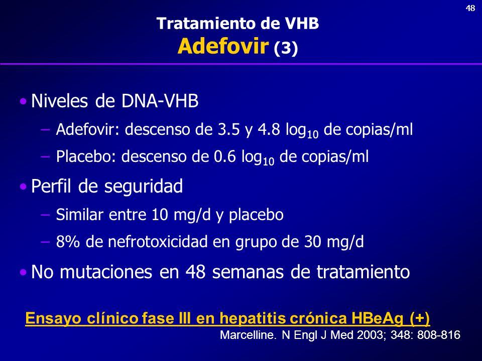 48 Tratamiento de VHB Adefovir (3) Niveles de DNA-VHB –Adefovir: descenso de 3.5 y 4.8 log 10 de copias/ml –Placebo: descenso de 0.6 log 10 de copias/