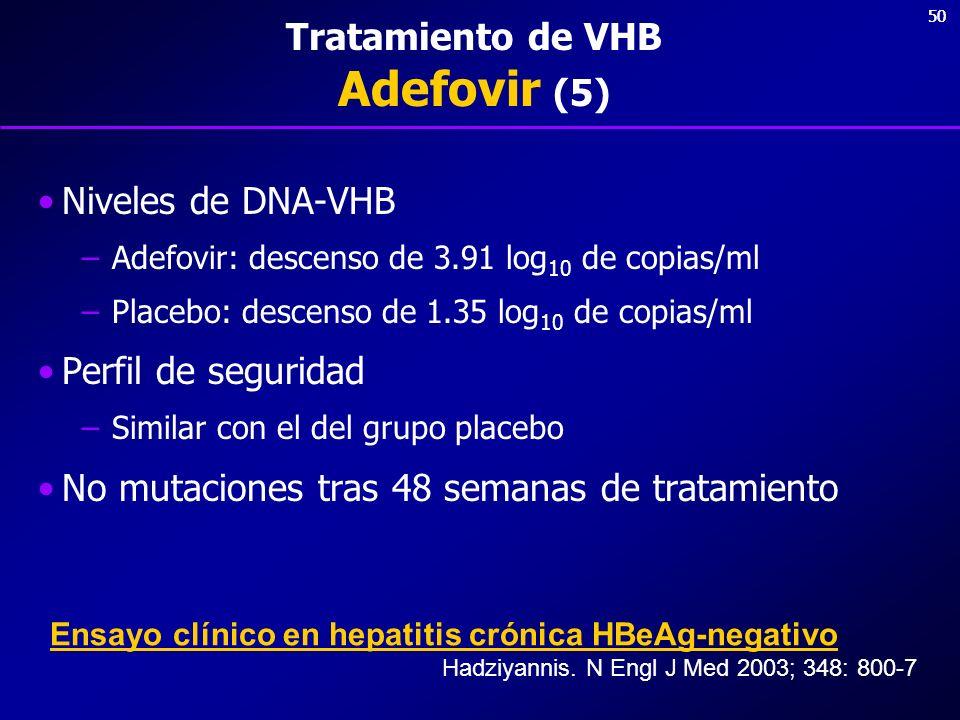 50 Tratamiento de VHB Adefovir (5) Niveles de DNA-VHB –Adefovir: descenso de 3.91 log 10 de copias/ml –Placebo: descenso de 1.35 log 10 de copias/ml P