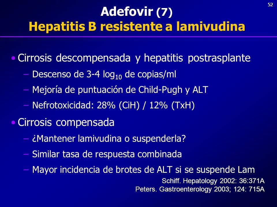 52 Adefovir (7) Hepatitis B resistente a lamivudina Cirrosis descompensada y hepatitis postrasplante –Descenso de 3-4 log 10 de copias/ml –Mejoría de