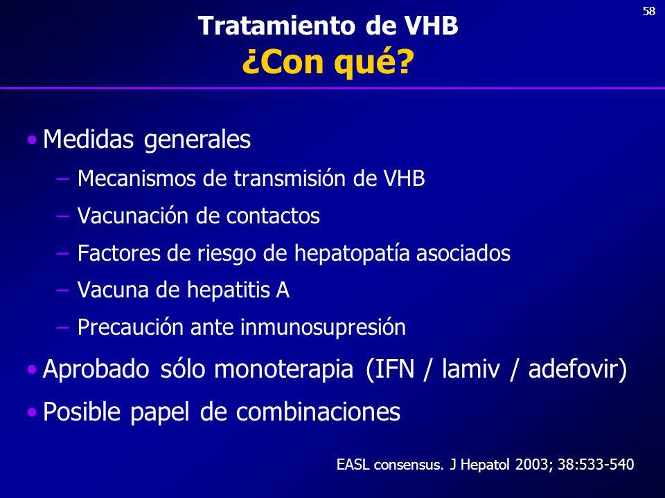 58 Tratamiento de VHB ¿Con qué? Medidas generales –Mecanismos de transmisión de VHB –Vacunación de contactos –Factores de riesgo de hepatopatía asocia