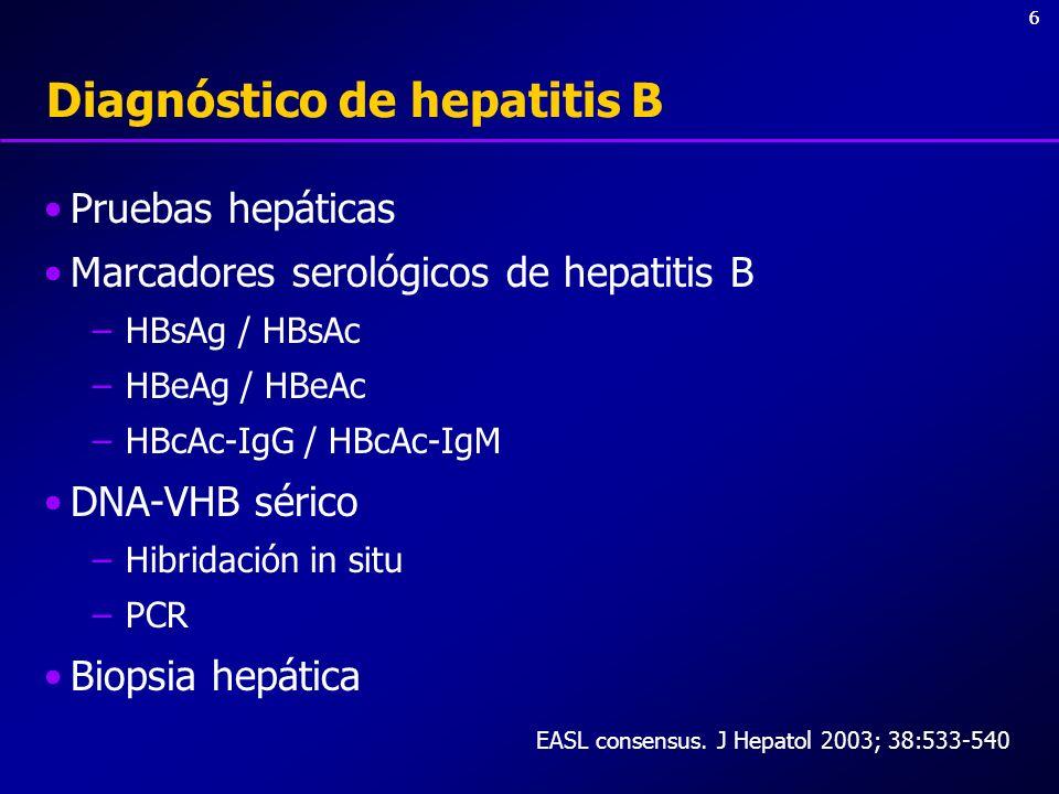 66 Diagnóstico de hepatitis B Pruebas hepáticas Marcadores serológicos de hepatitis B –HBsAg / HBsAc –HBeAg / HBeAc –HBcAc-IgG / HBcAc-IgM DNA-VHB sér