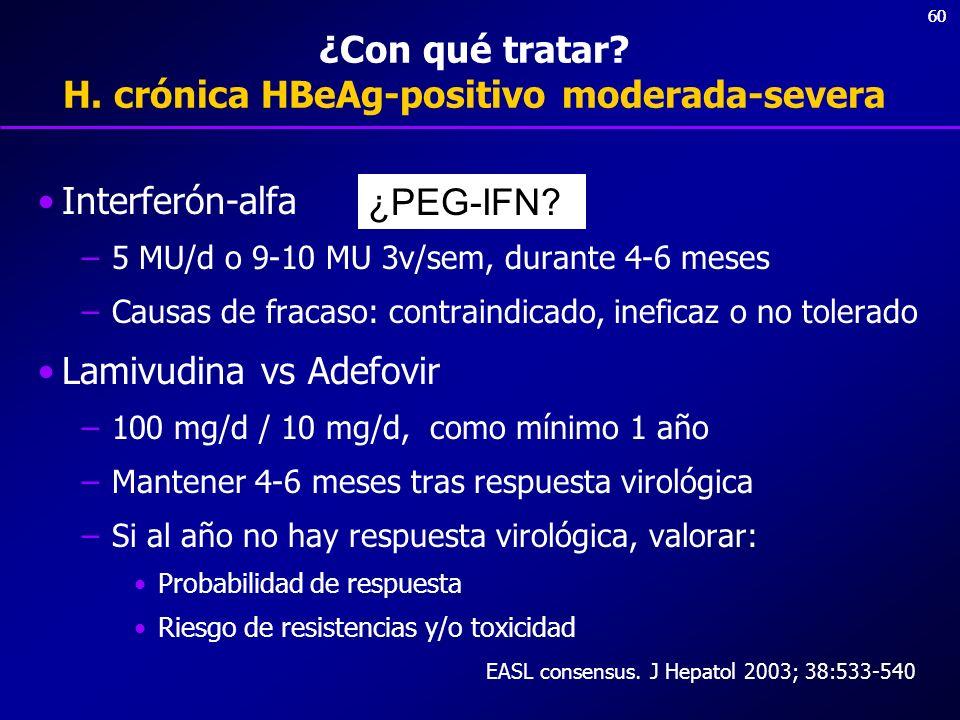 60 ¿Con qué tratar? H. crónica HBeAg-positivo moderada-severa Interferón-alfa –5 MU/d o 9-10 MU 3v/sem, durante 4-6 meses –Causas de fracaso: contrain