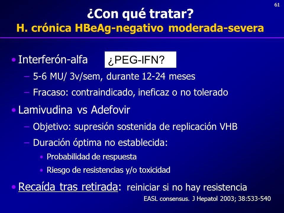 61 ¿Con qué tratar? H. crónica HBeAg-negativo moderada-severa Interferón-alfa –5-6 MU/ 3v/sem, durante 12-24 meses –Fracaso: contraindicado, ineficaz