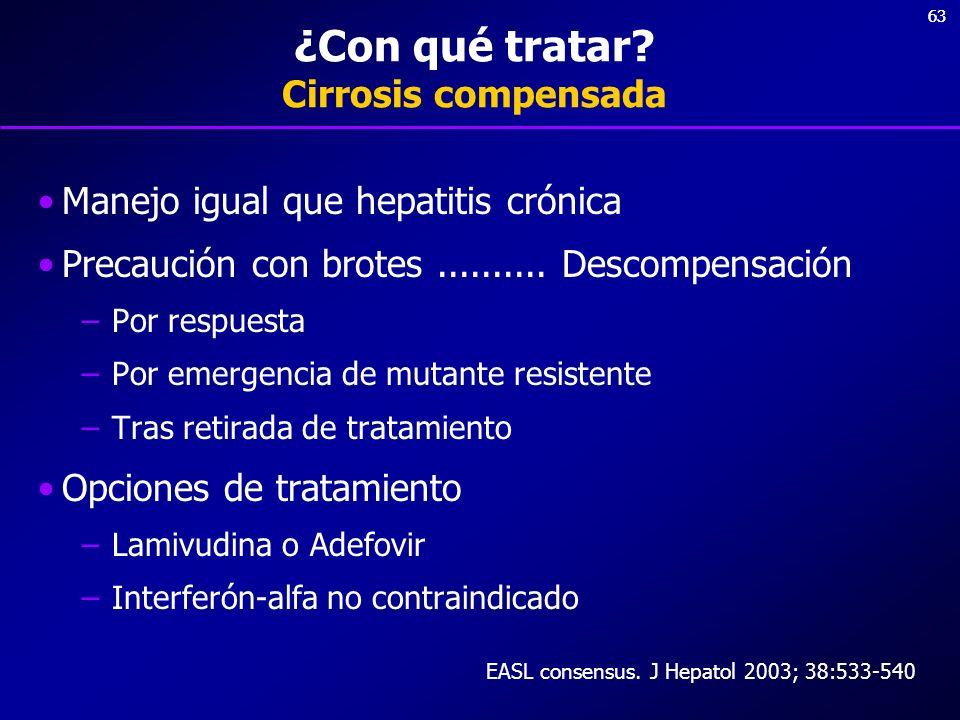 63 ¿Con qué tratar? Cirrosis compensada Manejo igual que hepatitis crónica Precaución con brotes.......... Descompensación –Por respuesta –Por emergen