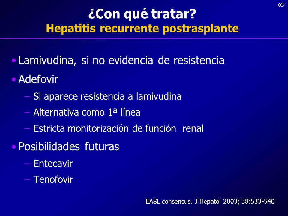 65 ¿Con qué tratar? Hepatitis recurrente postrasplante Lamivudina, si no evidencia de resistencia Adefovir –Si aparece resistencia a lamivudina –Alter