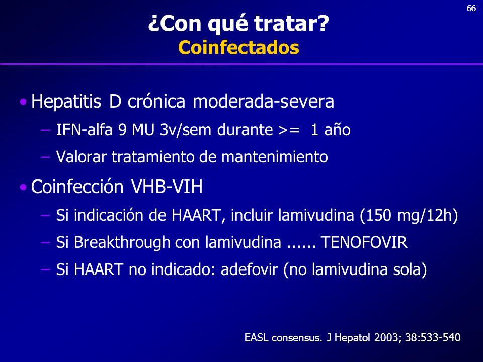 66 ¿Con qué tratar? Coinfectados Hepatitis D crónica moderada-severa –IFN-alfa 9 MU 3v/sem durante >= 1 año –Valorar tratamiento de mantenimiento Coin