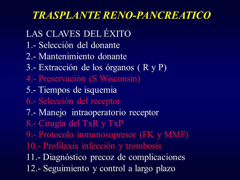 TRASPLANTE RENO-PANCREATICO LAS CLAVES DEL ÉXITO 1.- Selección del donante 2.- Mantenimiento donante 3.- Extracción de los órganos ( R y P) 4.- Preser