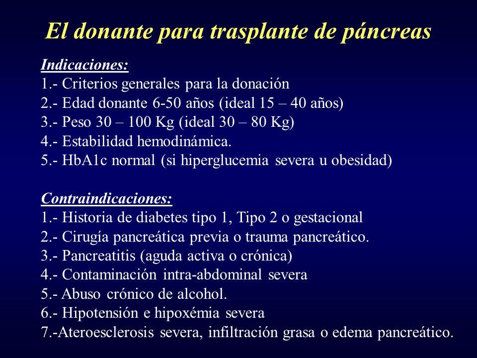 El donante para trasplante de páncreas Indicaciones: 1.- Criterios generales para la donación 2.- Edad donante 6-50 años (ideal 15 – 40 años) 3.- Peso