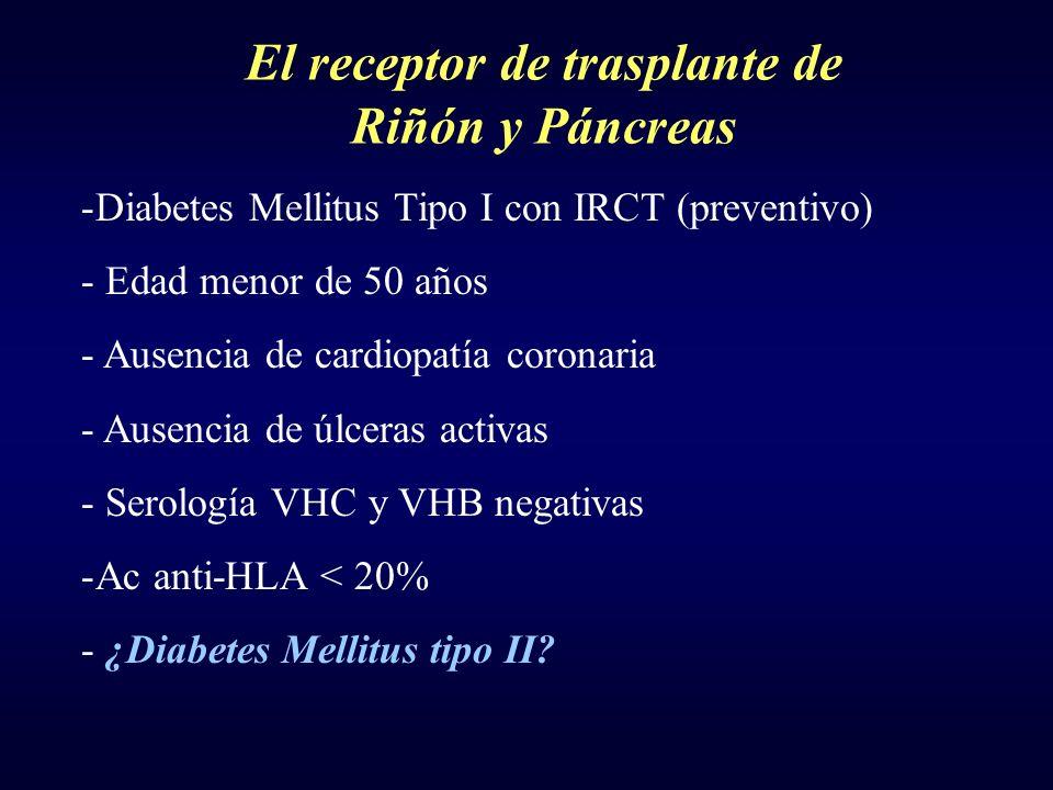 El receptor de trasplante de Riñón y Páncreas -Diabetes Mellitus Tipo I con IRCT (preventivo) - Edad menor de 50 años - Ausencia de cardiopatía corona