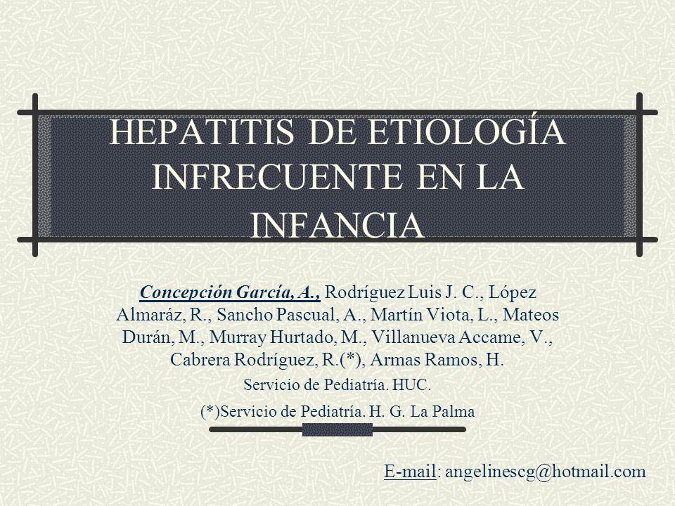 HEPATITIS DE ETIOLOGÍA INFRECUENTE EN LA INFANCIA Concepción García, A., Rodríguez Luis J. C., López Almaráz, R., Sancho Pascual, A., Martín Viota, L.