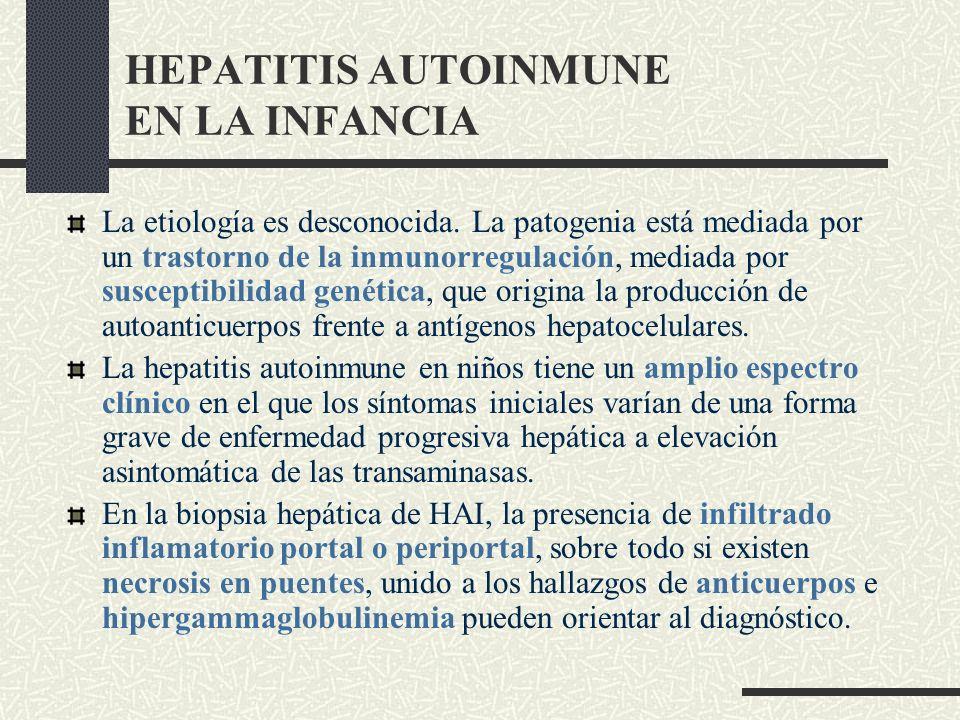 HEPATITIS AUTOINMUNE EN LA INFANCIA La etiología es desconocida. La patogenia está mediada por un trastorno de la inmunorregulación, mediada por susce