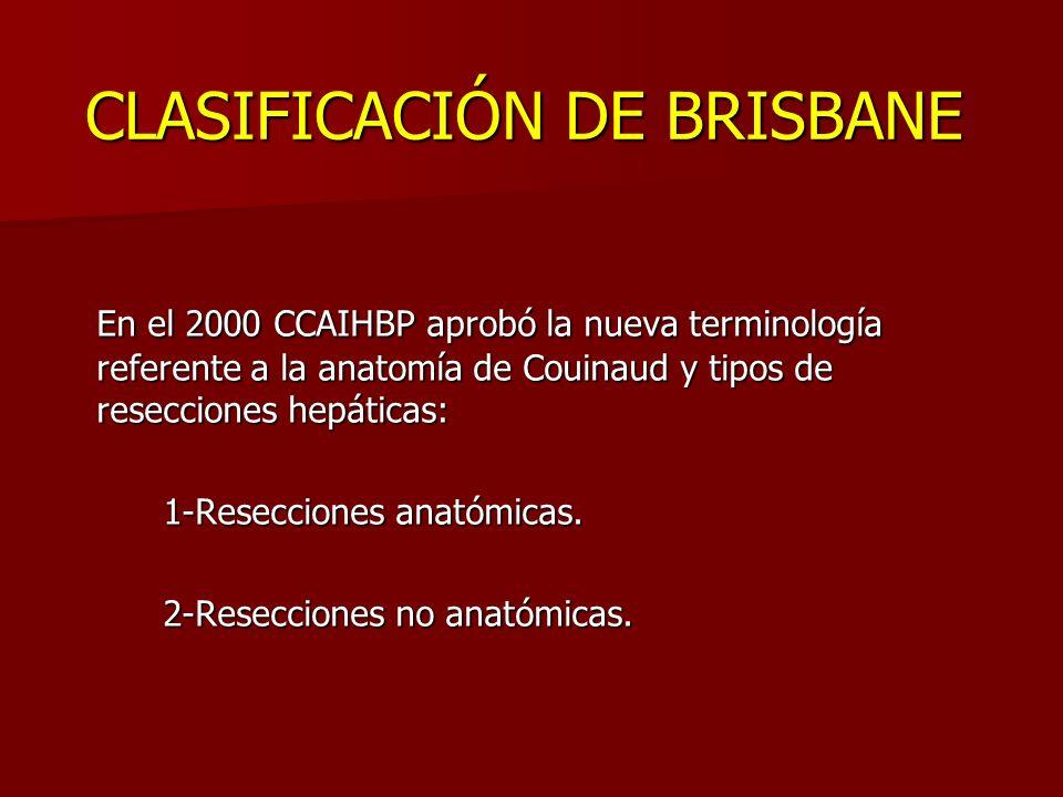 CLASIFICACIÓN DE BRISBANE En el 2000 CCAIHBP aprobó la nueva terminología referente a la anatomía de Couinaud y tipos de resecciones hepáticas: 1-Rese