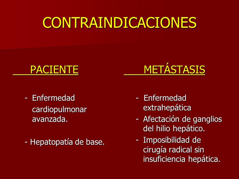 CONTRAINDICACIONES PACIENTE PACIENTE -Enfermedad cardiopulmonar avanzada. cardiopulmonar avanzada. - Hepatopatía de base. METÁSTASIS METÁSTASIS - Enfe