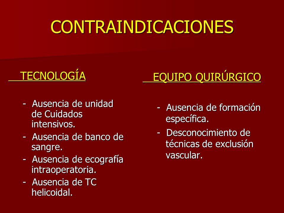 CONTRAINDICACIONES TECNOLOGÍA TECNOLOGÍA - Ausencia de unidad de Cuidados intensivos. - Ausencia de banco de sangre. - Ausencia de ecografía intraoper
