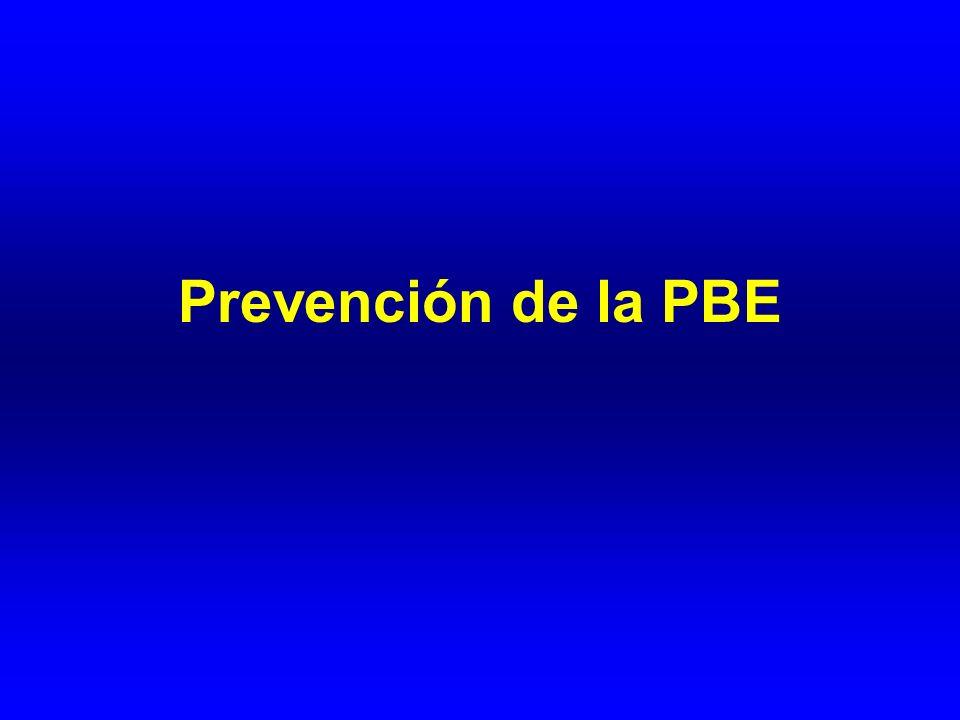 Resistencia a quinolonas en pacientes sometidos a profilaxis de PBE con DIS Dupeyron et al, 1994 (n=31) 51 - Llovet JM et al, 1997 (n=36) - 0 Aparicio JR et al, 1999 (n=30) 47 0 Novella M et al, 1997 (n=56) - 0 Ortiz J et al, 1999 (n=47) - 20 Fernández J et al, 2002 (n=93) - 50 Presencia de bacterias resistentes a quinolonas en heces (%) PBE por bacterias resistentes a quinolonas (%) ESTUDIO ¿Existen alternativas a la DIS con antibióticos en la profilaxis de la PBE?