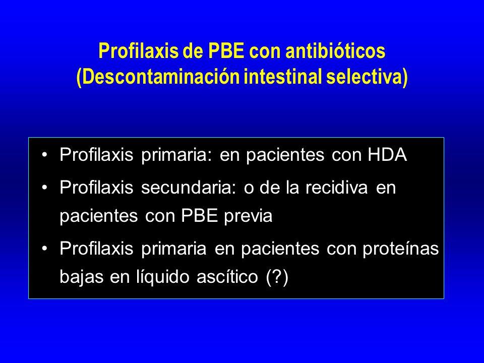 Mejoría de la supervivencia en MA de 5 RCTs (Mortalidad IH 24% vs 15%) Bernard et al Hepatology 1999 IAC Gut 2005 Profilaxis primaria de PBE en HDA Pauta: Norfloxacino 400 mg / 12 h v.o., 7 días En alto riesgo (ascitis, ictericia, IR, MEP): Cefalosporinas de 3ª gen e.v.