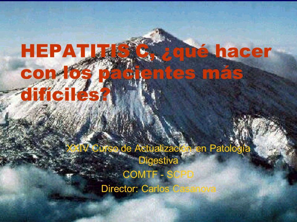 HEPATITIS C, ¿qué hacer con los pacientes más difíciles? XXIV Curso de Actualización en Patología Digestiva COMTF - SCPD Director: Carlos Casanova