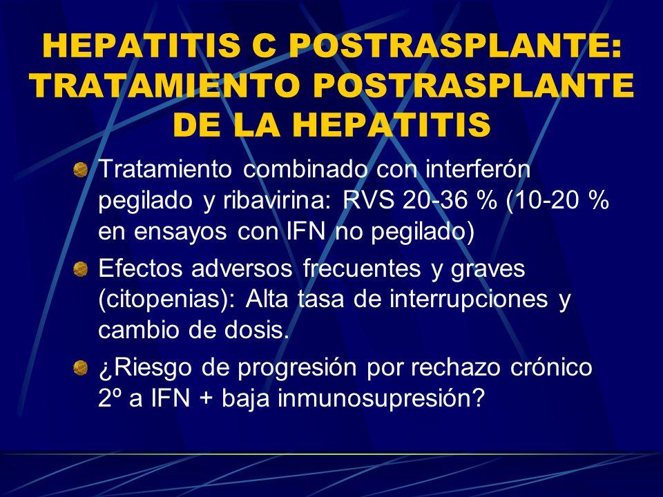 HEPATITIS C POSTRASPLANTE: TRATAMIENTO POSTRASPLANTE DE LA HEPATITIS Tratamiento combinado con interferón pegilado y ribavirina: RVS 20-36 % (10-20 %