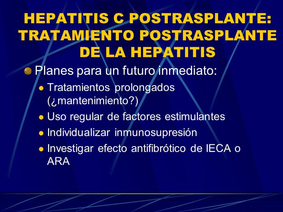HEPATITIS C POSTRASPLANTE: TRATAMIENTO POSTRASPLANTE DE LA HEPATITIS Planes para un futuro inmediato: Tratamientos prolongados (¿mantenimiento?) Uso r