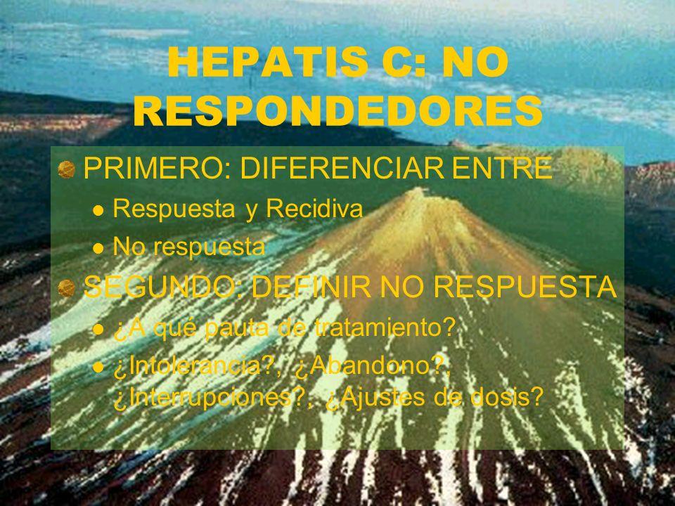 HEPATIS C: NO RESPONDEDORES PRIMERO: DIFERENCIAR ENTRE Respuesta y Recidiva No respuesta SEGUNDO: DEFINIR NO RESPUESTA ¿A qué pauta de tratamiento? ¿I