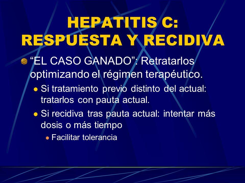 HEPATITIS C: RESPUESTA Y RECIDIVA EL CASO GANADO: Retratarlos optimizando el régimen terapéutico. Si tratamiento previo distinto del actual: tratarlos