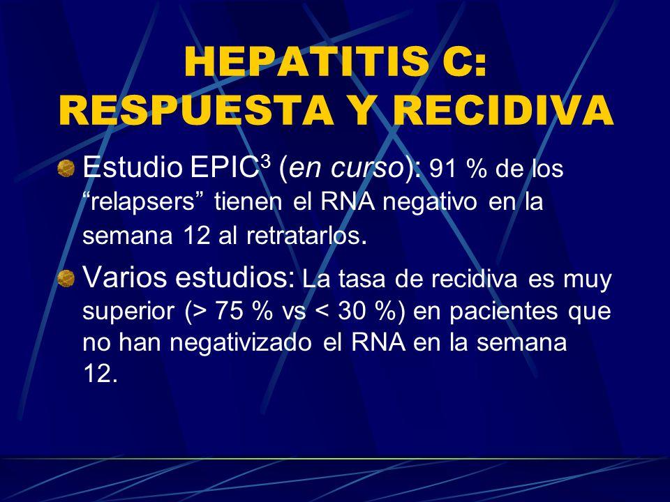 HEPATITIS C: RESPUESTA Y RECIDIVA Estudio EPIC 3 (en curso): 91 % de los relapsers tienen el RNA negativo en la semana 12 al retratarlos. Varios estud