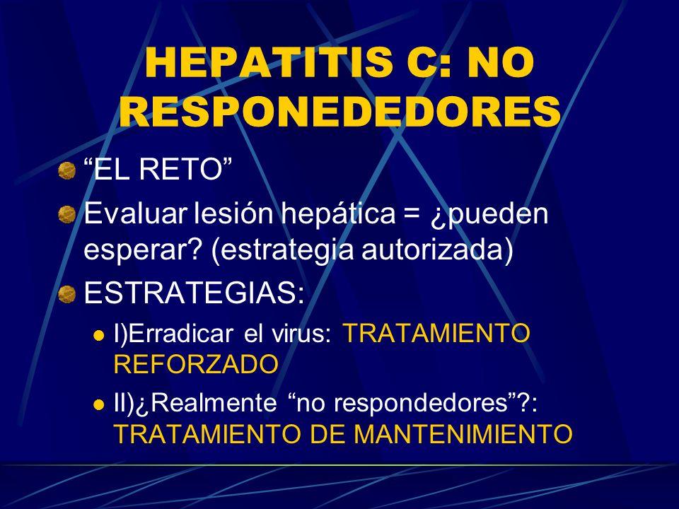 HEPATITIS C: NO RESPONEDEDORES EL RETO Evaluar lesión hepática = ¿pueden esperar? (estrategia autorizada) ESTRATEGIAS: I)Erradicar el virus: TRATAMIEN