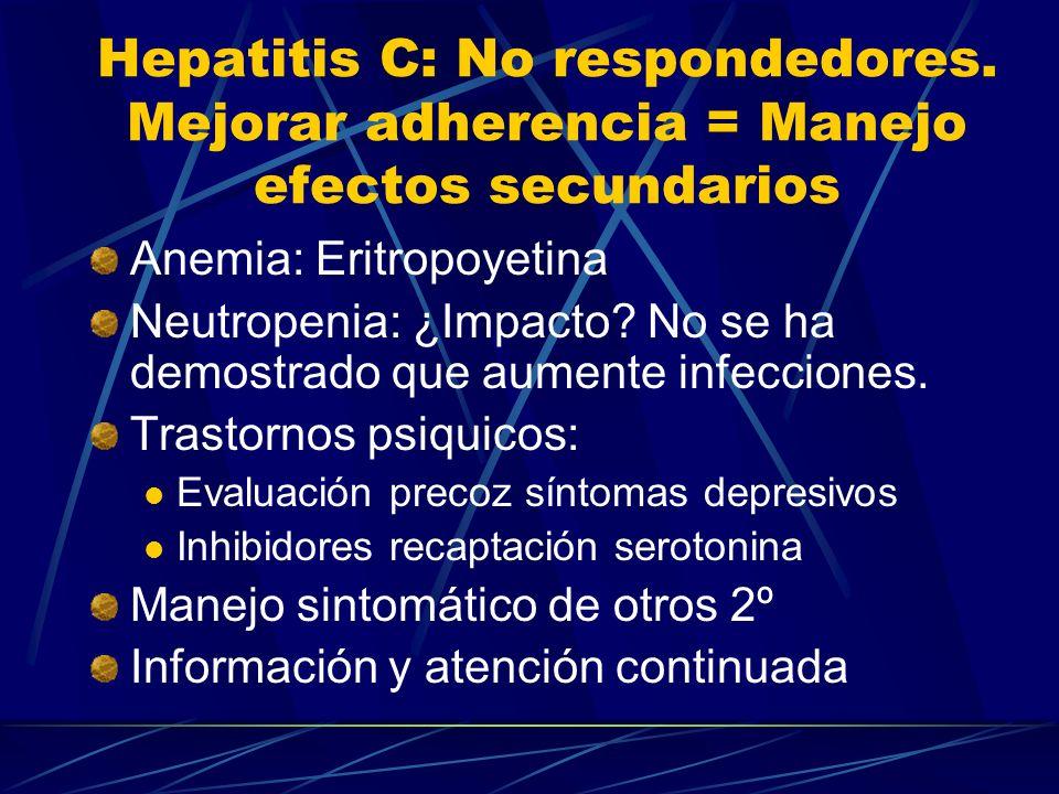 Hepatitis C: No respondedores. Mejorar adherencia = Manejo efectos secundarios Anemia: Eritropoyetina Neutropenia: ¿Impacto? No se ha demostrado que a