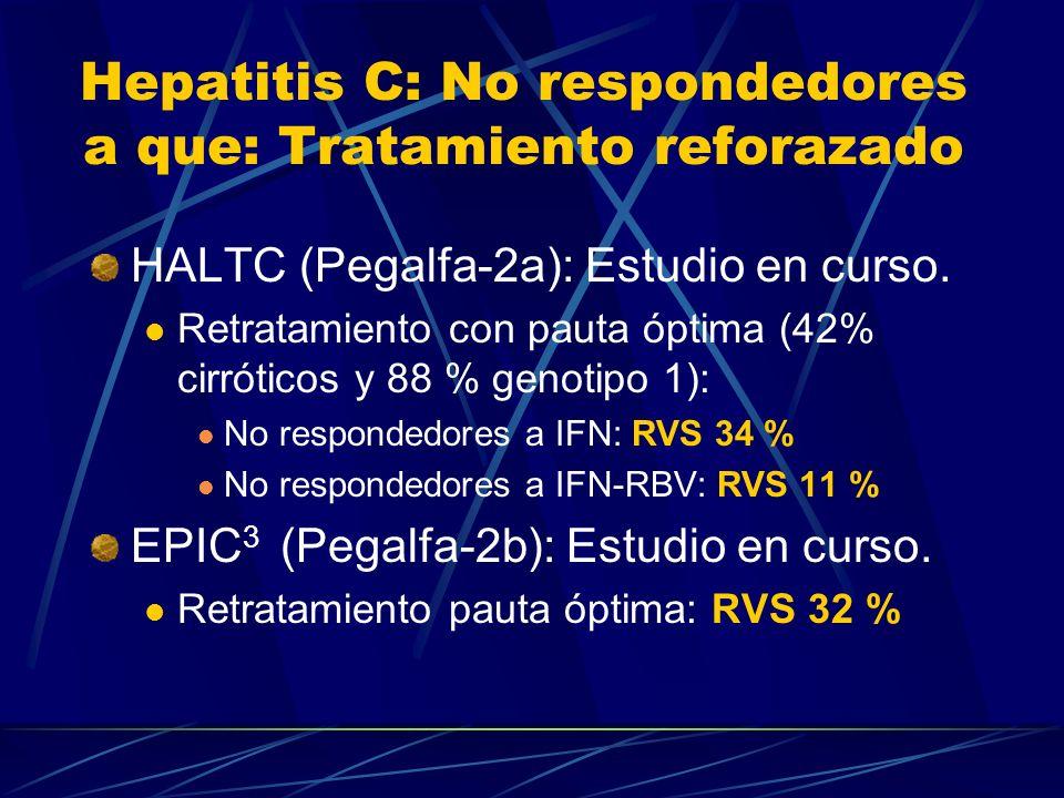 Hepatitis C: No respondedores a que: Tratamiento reforazado HALTC (Pegalfa-2a): Estudio en curso. Retratamiento con pauta óptima (42% cirróticos y 88